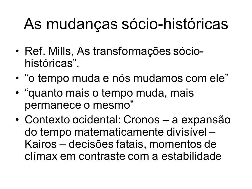 As mudanças sócio-históricas Ref. Mills, As transformações sócio- históricas. o tempo muda e nós mudamos com ele quanto mais o tempo muda, mais perman