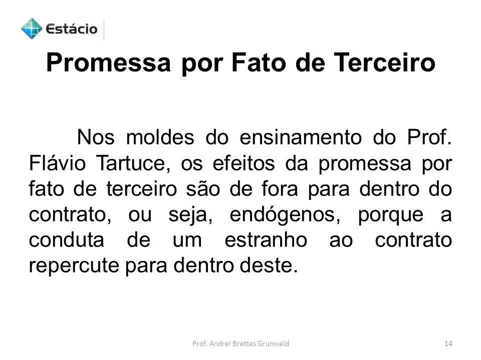 Prof. Andrei Brettas Grunwald14 Nos moldes do ensinamento do Prof. Flávio Tartuce, os efeitos da promessa por fato de terceiro são de fora para dentro