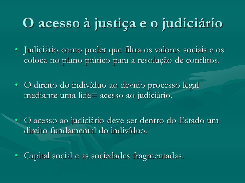 O acesso à justiça e o judiciário Judiciário como poder que filtra os valores sociais e os coloca no plano prático para a resolução de conflitos.Judic