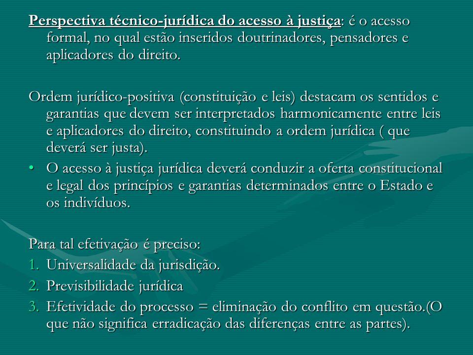 Perspectiva técnico-jurídica do acesso à justiça: é o acesso formal, no qual estão inseridos doutrinadores, pensadores e aplicadores do direito. Ordem