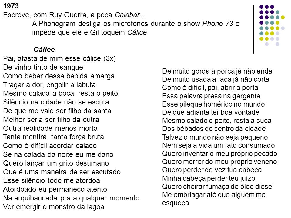 1973 Escreve, com Ruy Guerra, a peça Calabar... A Phonogram desliga os microfones durante o show Phono 73 e impede que ele e Gil toquem Cálice Cálice