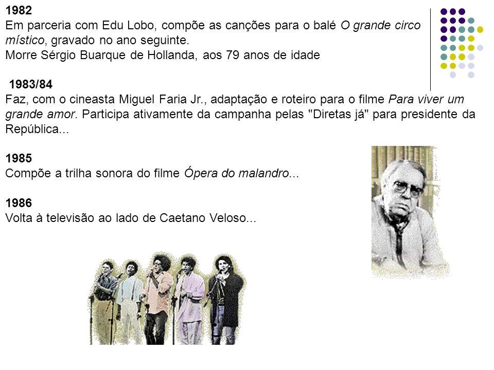 1982 Em parceria com Edu Lobo, compõe as canções para o balé O grande circo místico, gravado no ano seguinte. Morre Sérgio Buarque de Hollanda, aos 79