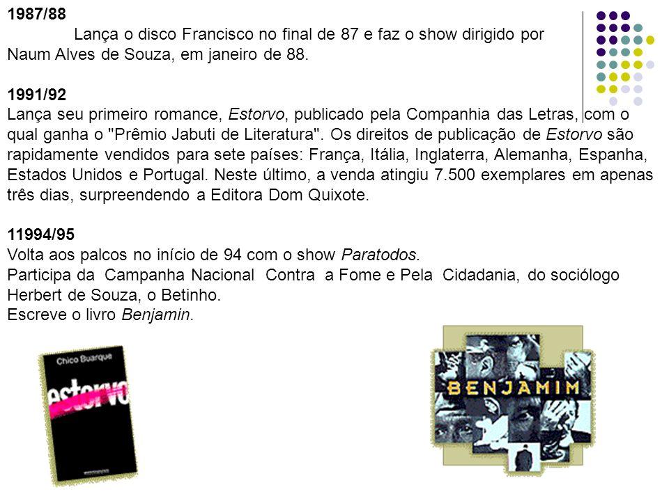 1987/88 Lança o disco Francisco no final de 87 e faz o show dirigido por Naum Alves de Souza, em janeiro de 88. 1991/92 Lança seu primeiro romance, Es