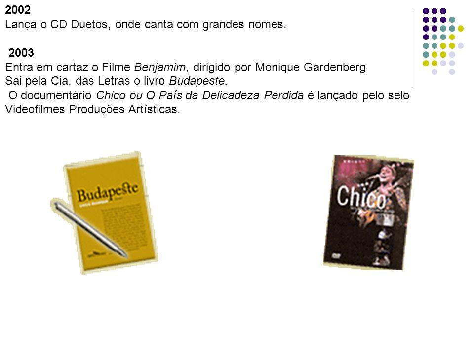 2002 Lança o CD Duetos, onde canta com grandes nomes. 2003 Entra em cartaz o Filme Benjamim, dirigido por Monique Gardenberg Sai pela Cia. das Letras