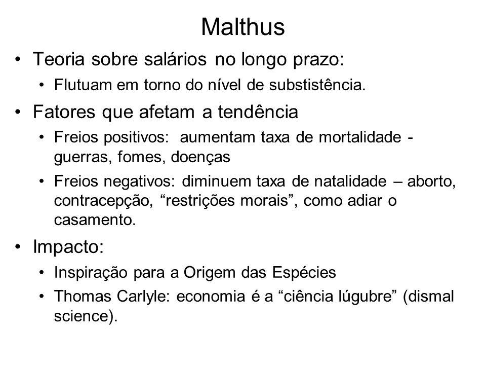 Malthus Teoria sobre salários no longo prazo: Flutuam em torno do nível de substistência. Fatores que afetam a tendência Freios positivos: aumentam ta