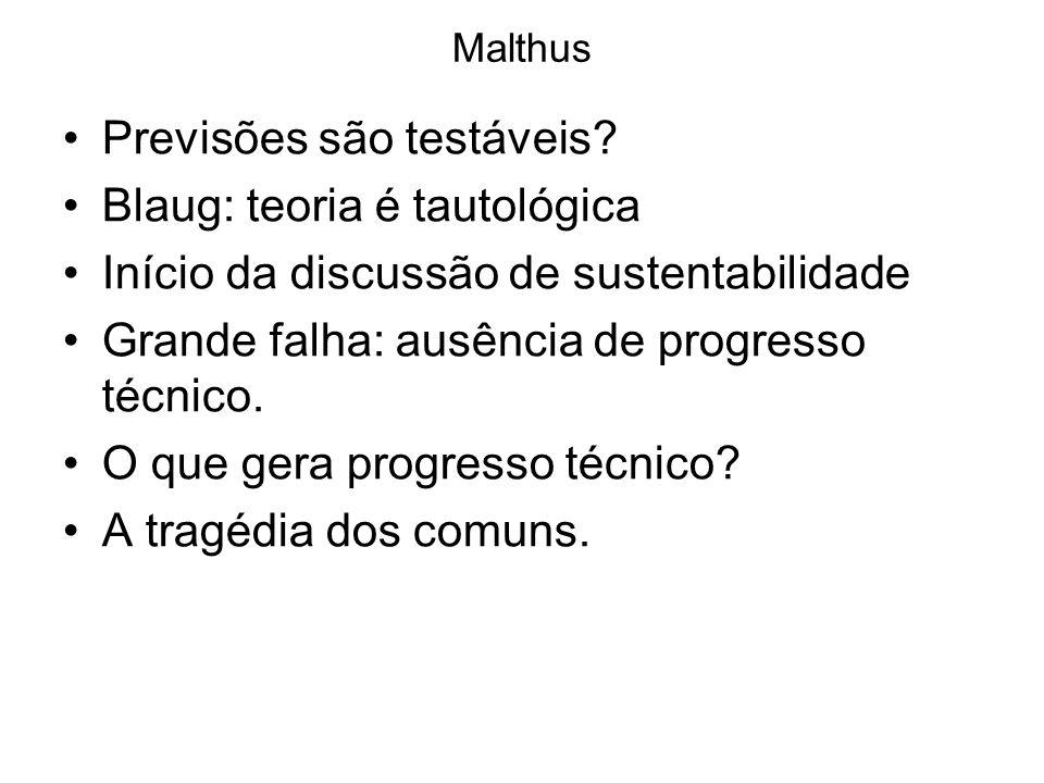 Malthus Previsões são testáveis? Blaug: teoria é tautológica Início da discussão de sustentabilidade Grande falha: ausência de progresso técnico. O qu
