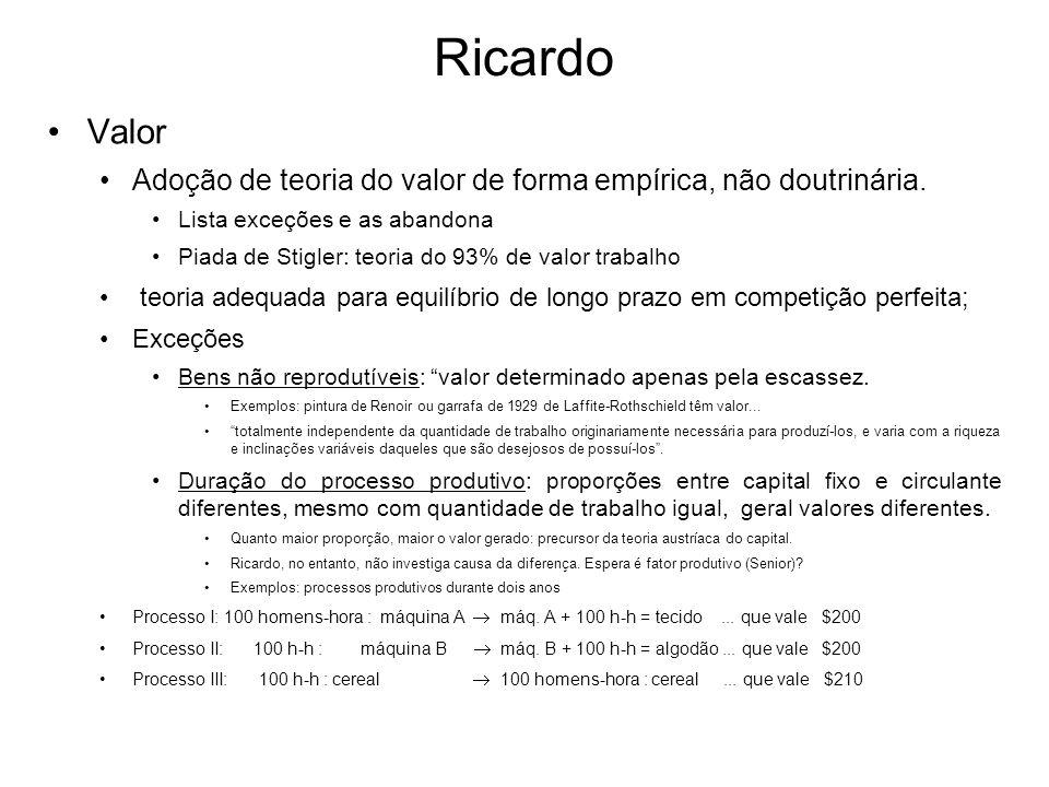 Ricardo Valor Adoção de teoria do valor de forma empírica, não doutrinária. Lista exceções e as abandona Piada de Stigler: teoria do 93% de valor trab