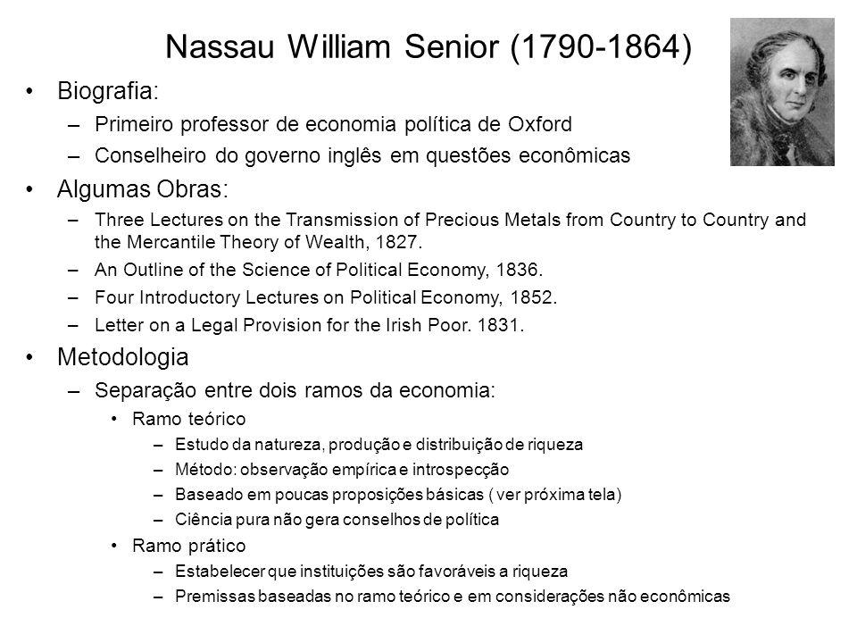 Nassau William Senior (1790-1864) Biografia: –Primeiro professor de economia política de Oxford –Conselheiro do governo inglês em questões econômicas