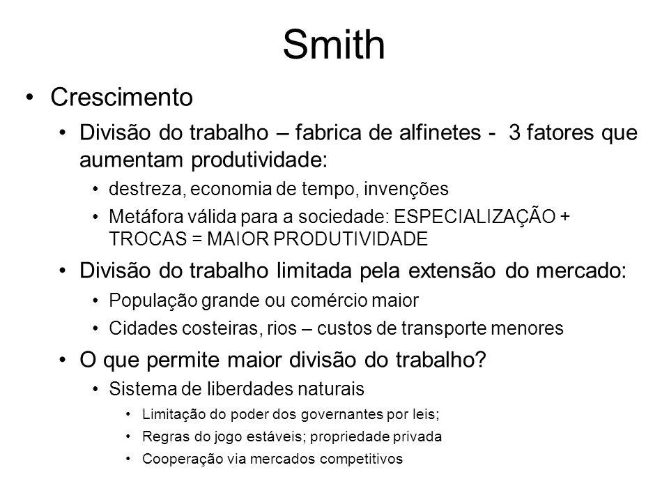 Smith Crescimento Divisão do trabalho – fabrica de alfinetes - 3 fatores que aumentam produtividade: destreza, economia de tempo, invenções Metáfora v