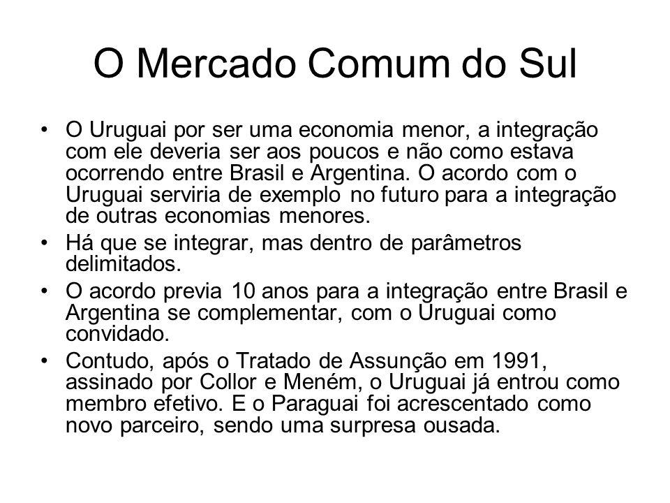 O Mercado Comum do Sul O Uruguai por ser uma economia menor, a integração com ele deveria ser aos poucos e não como estava ocorrendo entre Brasil e Ar