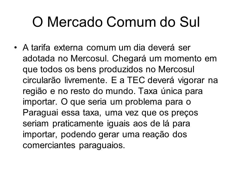 O Mercado Comum do Sul A tarifa externa comum um dia deverá ser adotada no Mercosul. Chegará um momento em que todos os bens produzidos no Mercosul ci