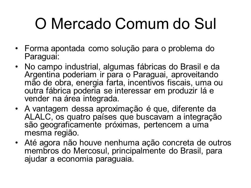 O Mercado Comum do Sul Forma apontada como solução para o problema do Paraguai: No campo industrial, algumas fábricas do Brasil e da Argentina poderia