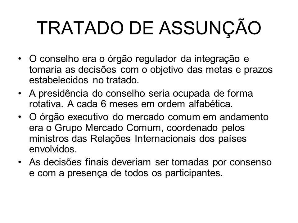 TRATADO DE ASSUNÇÃO O conselho era o órgão regulador da integração e tomaria as decisões com o objetivo das metas e prazos estabelecidos no tratado. A
