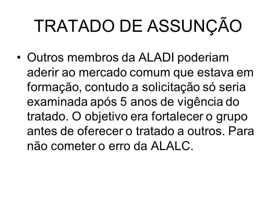 TRATADO DE ASSUNÇÃO Outros membros da ALADI poderiam aderir ao mercado comum que estava em formação, contudo a solicitação só seria examinada após 5 a