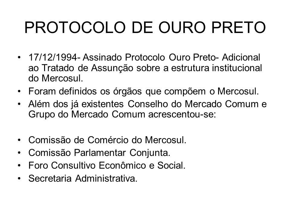 PROTOCOLO DE OURO PRETO 17/12/1994- Assinado Protocolo Ouro Preto- Adicional ao Tratado de Assunção sobre a estrutura institucional do Mercosul. Foram