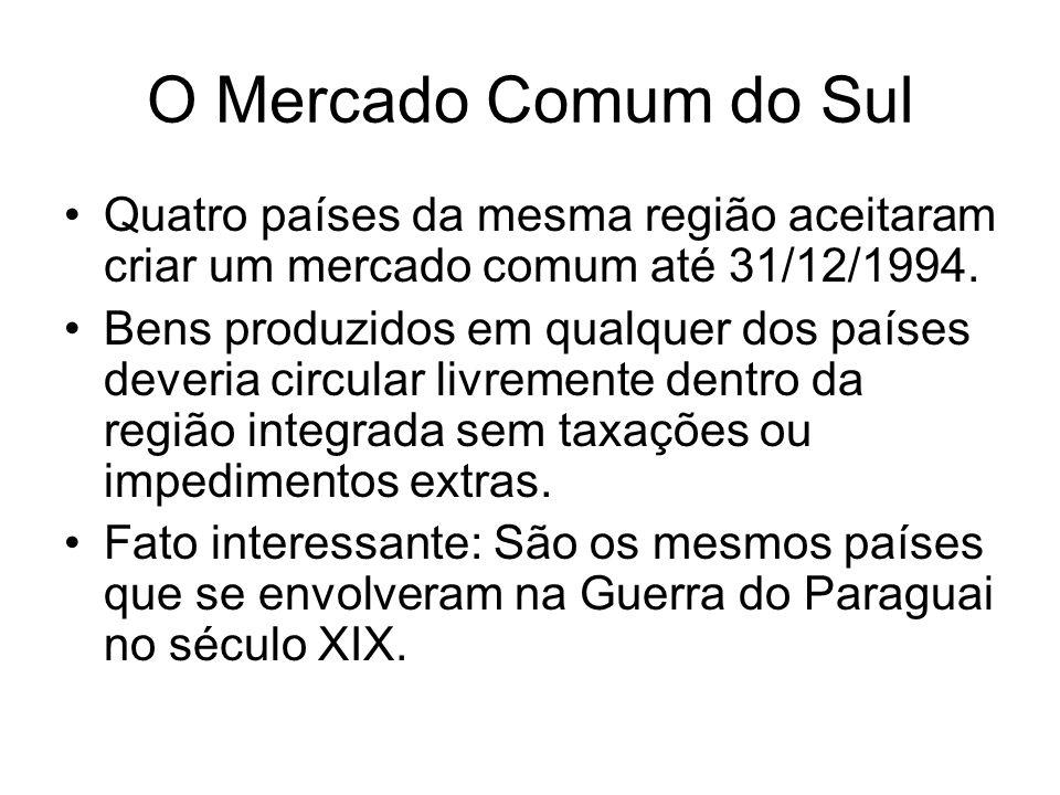 O Mercado Comum do Sul Quatro países da mesma região aceitaram criar um mercado comum até 31/12/1994. Bens produzidos em qualquer dos países deveria c