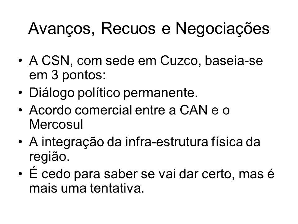 Avanços, Recuos e Negociações A CSN, com sede em Cuzco, baseia-se em 3 pontos: Diálogo político permanente. Acordo comercial entre a CAN e o Mercosul