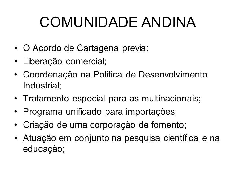COMUNIDADE ANDINA O Acordo de Cartagena previa: Liberação comercial; Coordenação na Política de Desenvolvimento Industrial; Tratamento especial para a