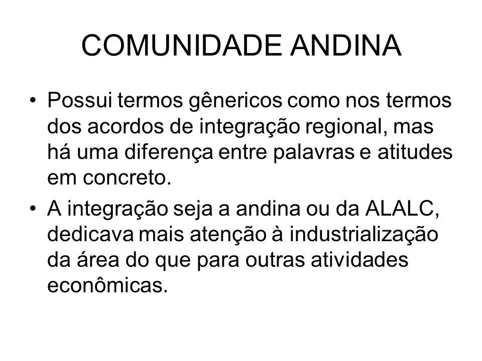 COMUNIDADE ANDINA Possui termos gênericos como nos termos dos acordos de integração regional, mas há uma diferença entre palavras e atitudes em concre