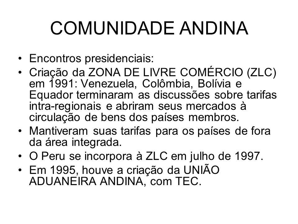 COMUNIDADE ANDINA Encontros presidenciais: Criação da ZONA DE LIVRE COMÉRCIO (ZLC) em 1991: Venezuela, Colômbia, Bolívia e Equador terminaram as discu
