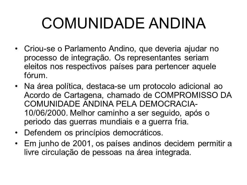 COMUNIDADE ANDINA Criou-se o Parlamento Andino, que deveria ajudar no processo de integração. Os representantes seriam eleitos nos respectivos países