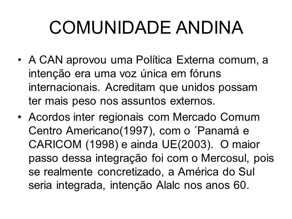 COMUNIDADE ANDINA A CAN aprovou uma Política Externa comum, a intenção era uma voz única em fóruns internacionais. Acreditam que unidos possam ter mai
