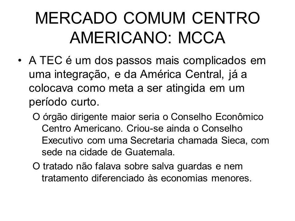 A TEC é um dos passos mais complicados em uma integração, e da América Central, já a colocava como meta a ser atingida em um período curto. O órgão di