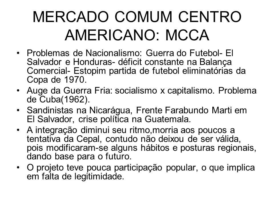 MERCADO COMUM CENTRO AMERICANO: MCCA Problemas de Nacionalismo: Guerra do Futebol- El Salvador e Honduras- déficit constante na Balança Comercial- Est