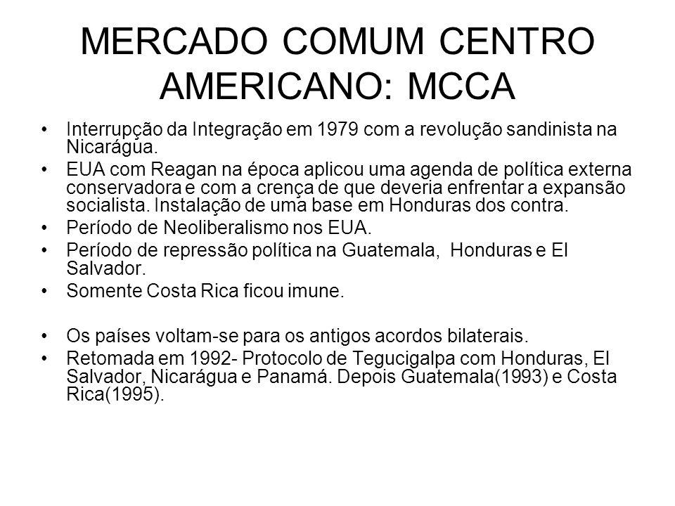 MERCADO COMUM CENTRO AMERICANO: MCCA Interrupção da Integração em 1979 com a revolução sandinista na Nicarágua. EUA com Reagan na época aplicou uma ag