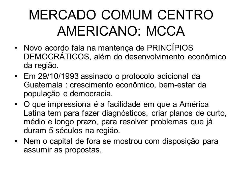 MERCADO COMUM CENTRO AMERICANO: MCCA Novo acordo fala na mantença de PRINCÍPIOS DEMOCRÁTICOS, além do desenvolvimento econômico da região. Em 29/10/19
