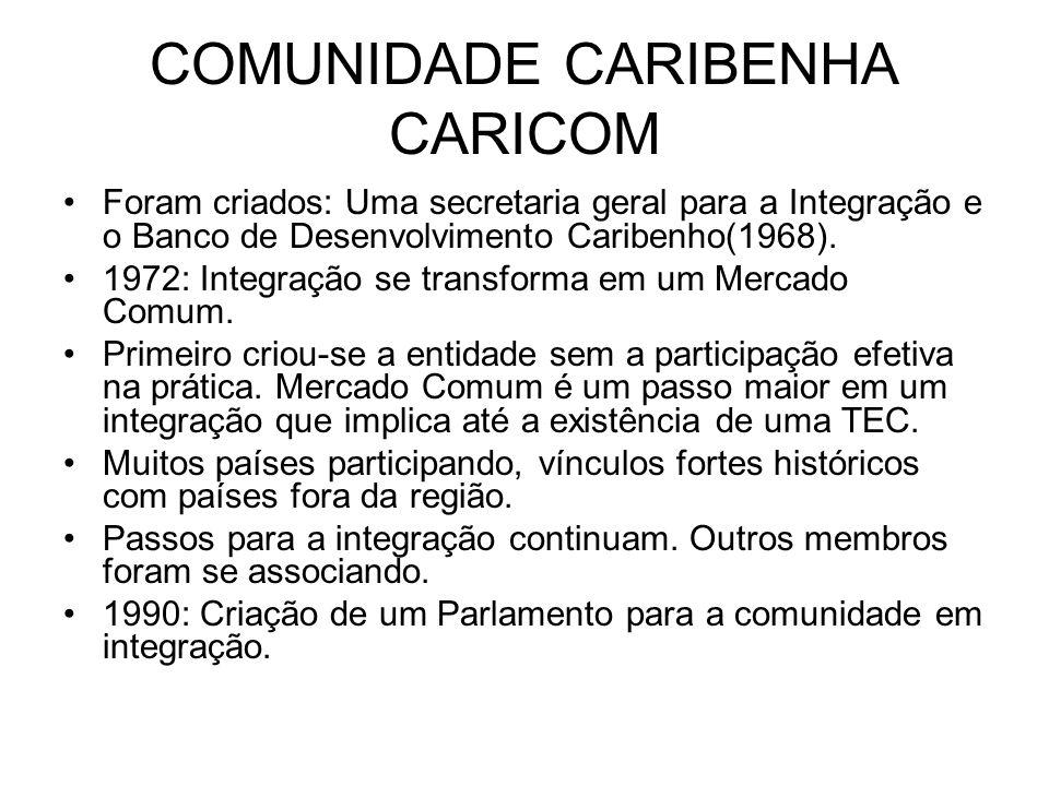 COMUNIDADE CARIBENHA CARICOM Foram criados: Uma secretaria geral para a Integração e o Banco de Desenvolvimento Caribenho(1968). 1972: Integração se t