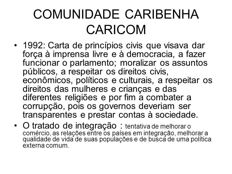 COMUNIDADE CARIBENHA CARICOM 1992: Carta de princípios civis que visava dar força à imprensa livre e à democracia, a fazer funcionar o parlamento; mor