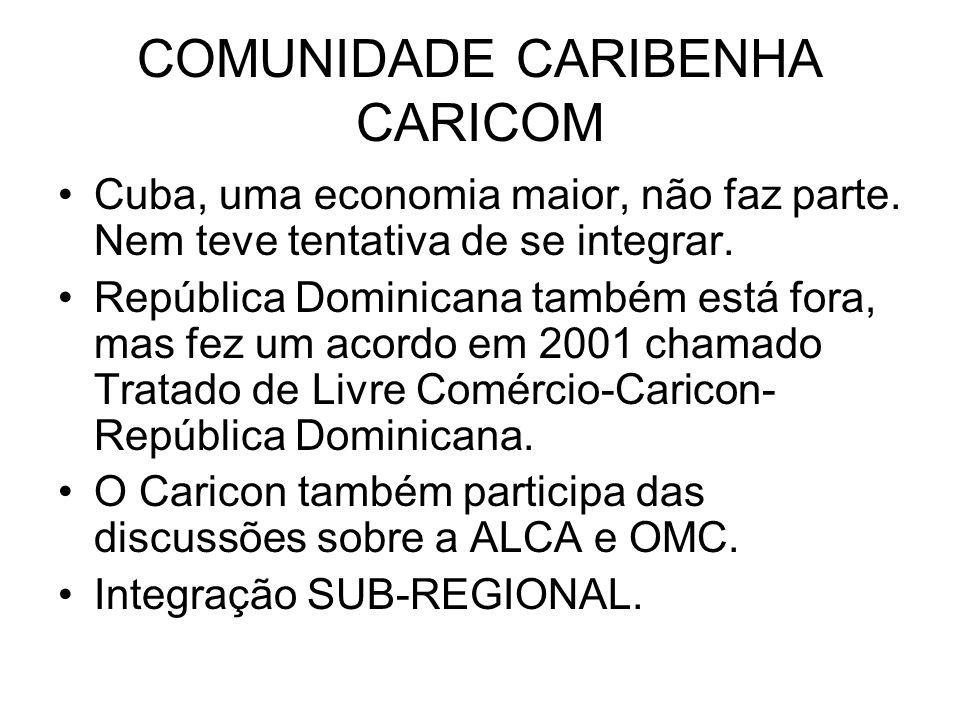 COMUNIDADE CARIBENHA CARICOM Cuba, uma economia maior, não faz parte. Nem teve tentativa de se integrar. República Dominicana também está fora, mas fe