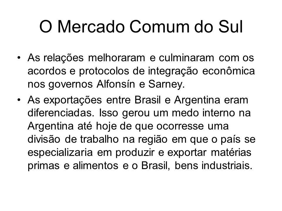 O Mercado Comum do Sul As relações melhoraram e culminaram com os acordos e protocolos de integração econômica nos governos Alfonsín e Sarney. As expo