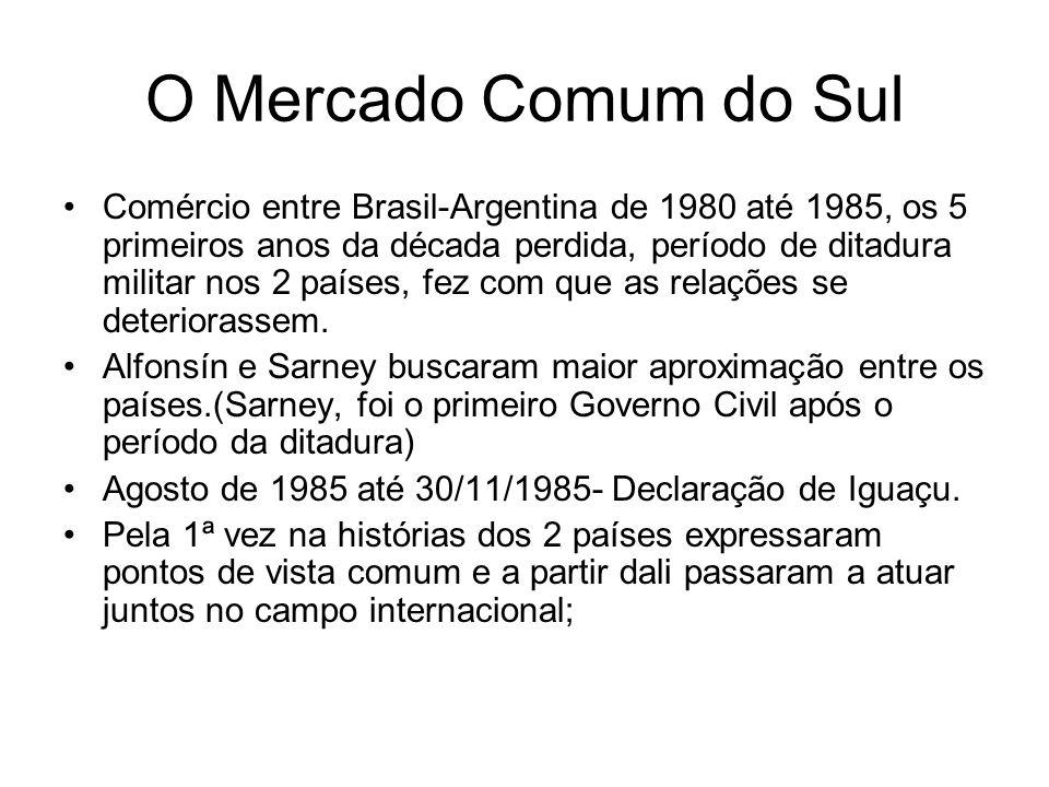 O Mercado Comum do Sul Comércio entre Brasil-Argentina de 1980 até 1985, os 5 primeiros anos da década perdida, período de ditadura militar nos 2 país