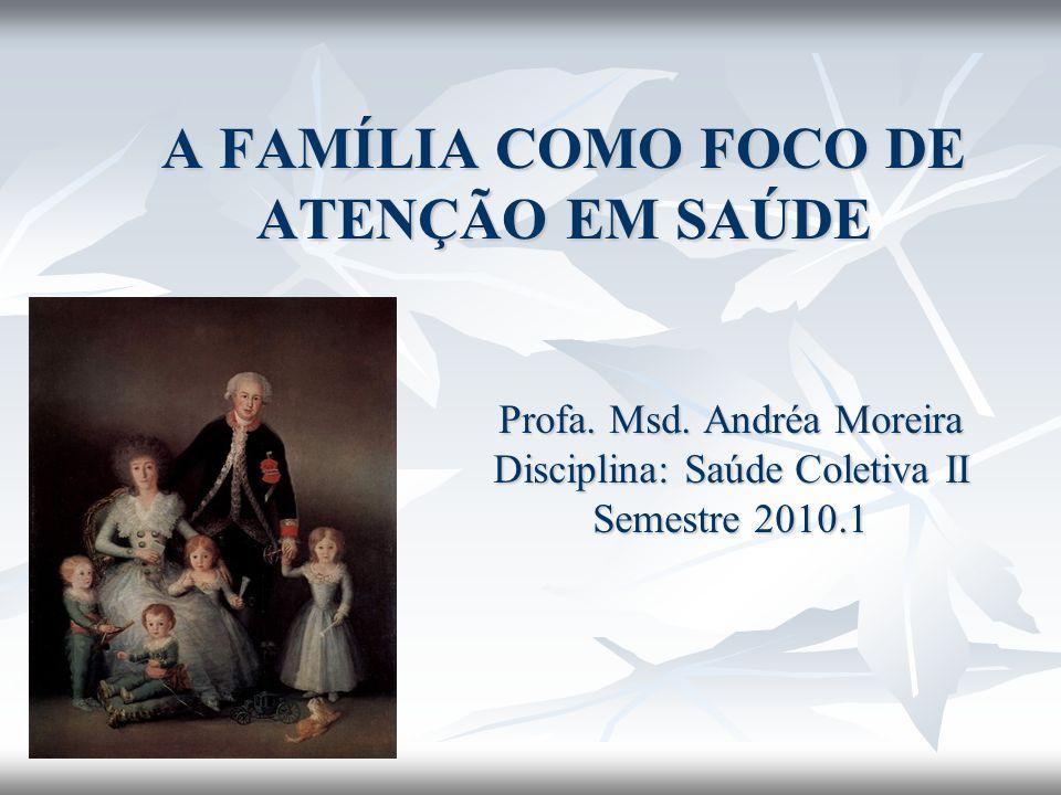 A FAMÍLIA COMO FOCO DE ATENÇÃO EM SAÚDE Profa. Msd. Andréa Moreira Disciplina: Saúde Coletiva II Semestre 2010.1