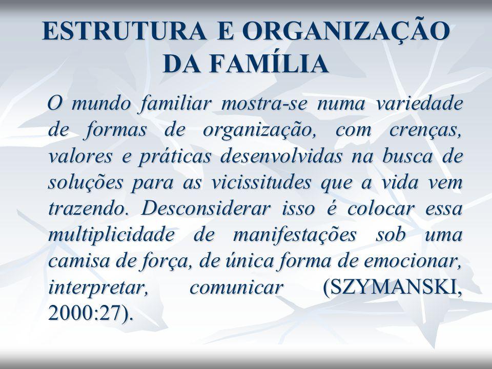 O mundo familiar mostra-se numa variedade de formas de organização, com crenças, valores e práticas desenvolvidas na busca de soluções para as vicissi