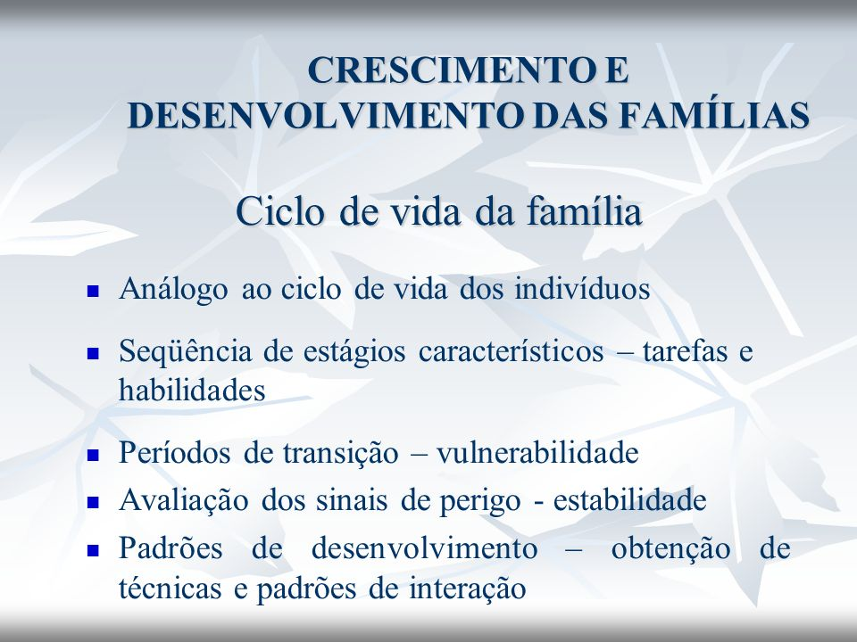 CRESCIMENTO E DESENVOLVIMENTO DAS FAMÍLIAS Ciclo de vida da família Análogo ao ciclo de vida dos indivíduos Seqüência de estágios característicos – ta