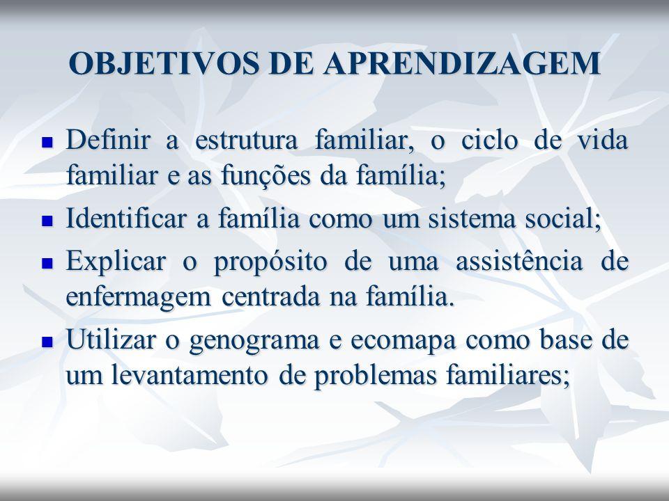 OBJETIVOS DE APRENDIZAGEM Definir a estrutura familiar, o ciclo de vida familiar e as funções da família; Definir a estrutura familiar, o ciclo de vid