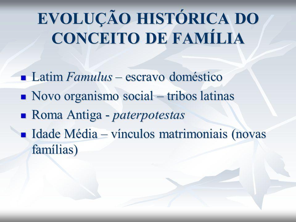 EVOLUÇÃO HISTÓRICA DO CONCEITO DE FAMÍLIA Latim Famulus – escravo doméstico Latim Famulus – escravo doméstico Novo organismo social – tribos latinas N