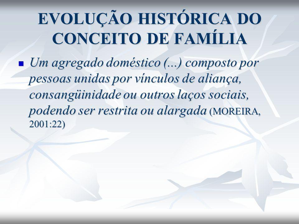 EVOLUÇÃO HISTÓRICA DO CONCEITO DE FAMÍLIA Um agregado doméstico (...) composto por pessoas unidas por vínculos de aliança, consangüinidade ou outros l