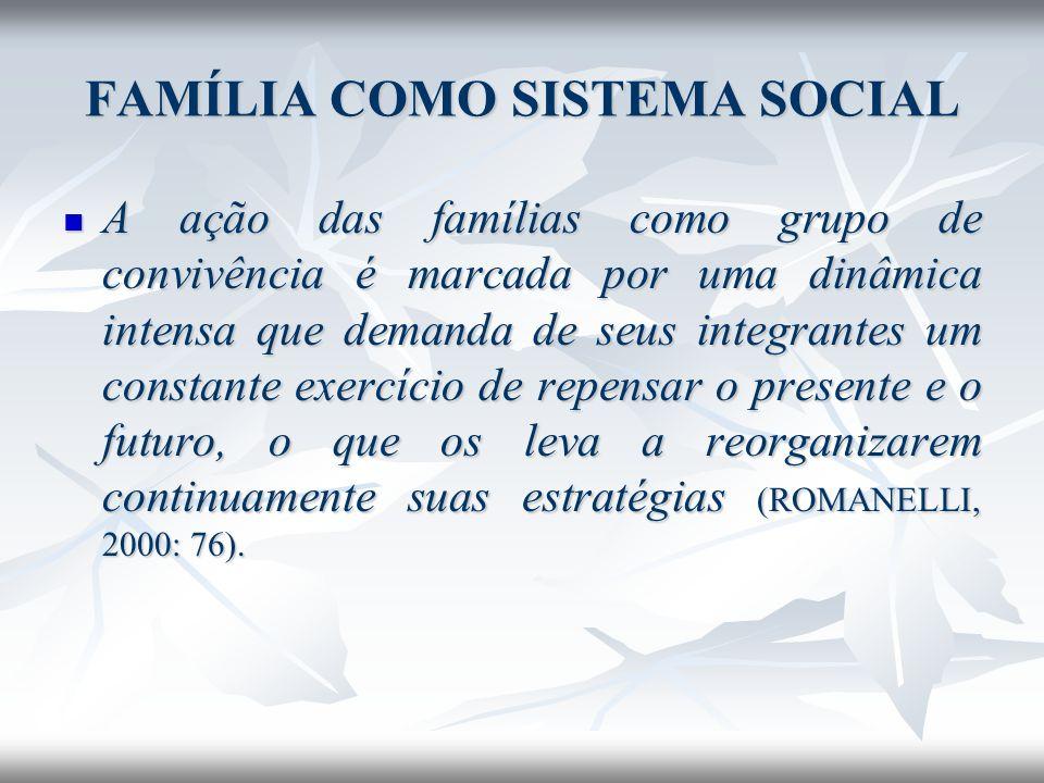 FAMÍLIA COMO SISTEMA SOCIAL A ação das famílias como grupo de convivência é marcada por uma dinâmica intensa que demanda de seus integrantes um consta