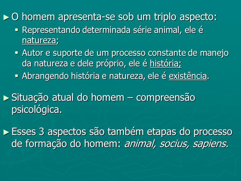 O homem apresenta-se sob um triplo aspecto: O homem apresenta-se sob um triplo aspecto: Representando determinada série animal, ele é natureza; Repres