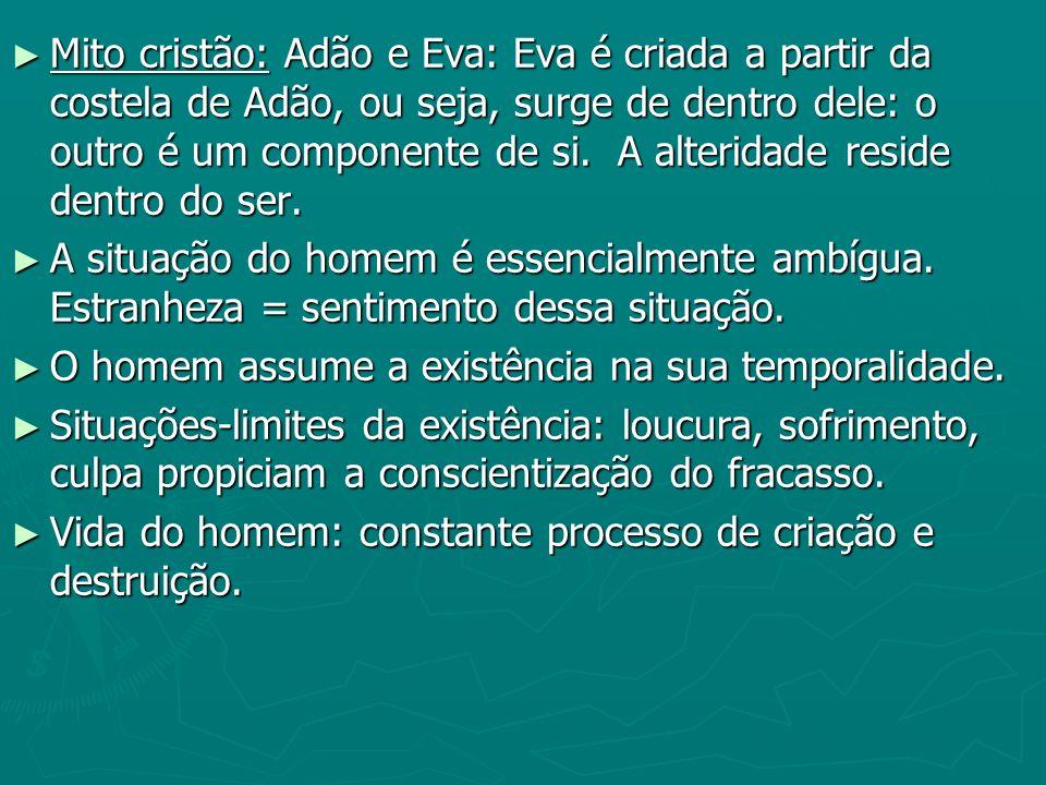 Mito cristão: Adão e Eva: Eva é criada a partir da costela de Adão, ou seja, surge de dentro dele: o outro é um componente de si. A alteridade reside