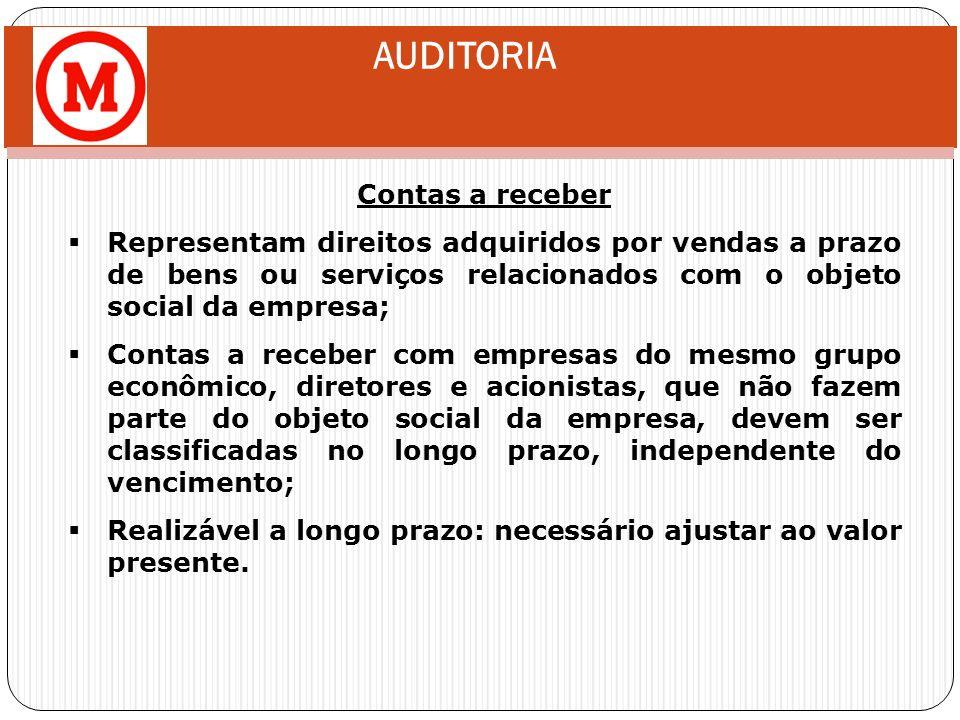 AUDITORIA Contas a receber Representam direitos adquiridos por vendas a prazo de bens ou serviços relacionados com o objeto social da empresa; Contas