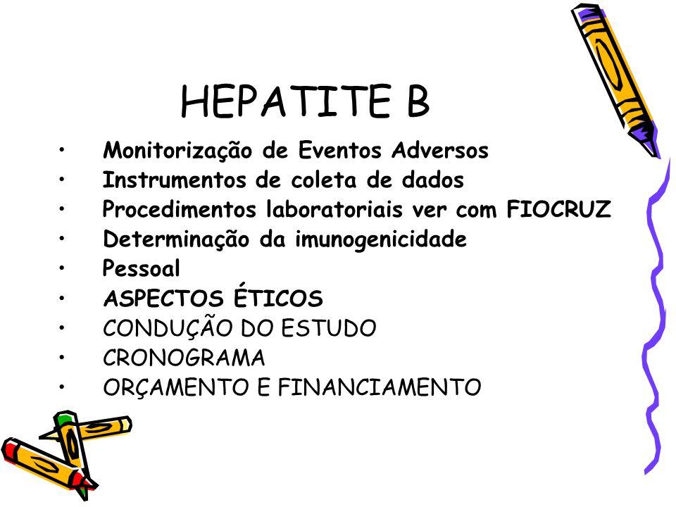 HEPATITE B Monitorização de Eventos Adversos Instrumentos de coleta de dados Procedimentos laboratoriais ver com FIOCRUZ Determinação da imunogenicida