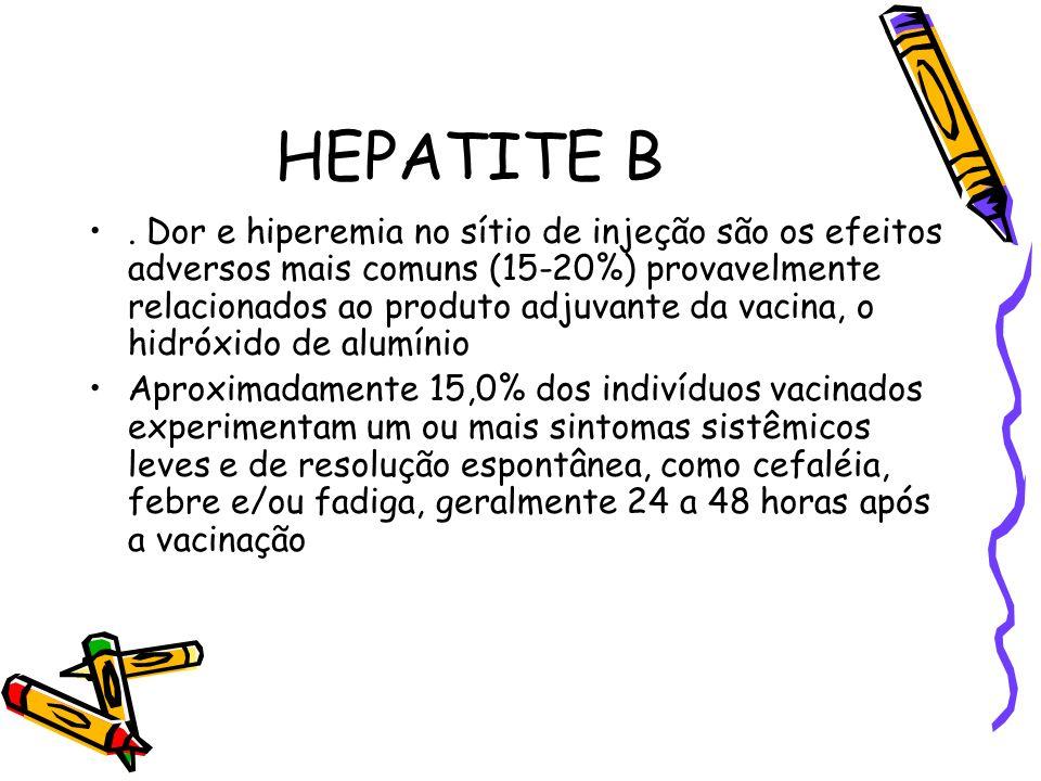 HEPATITE B. Dor e hiperemia no sítio de injeção são os efeitos adversos mais comuns (15-20%) provavelmente relacionados ao produto adjuvante da vacina