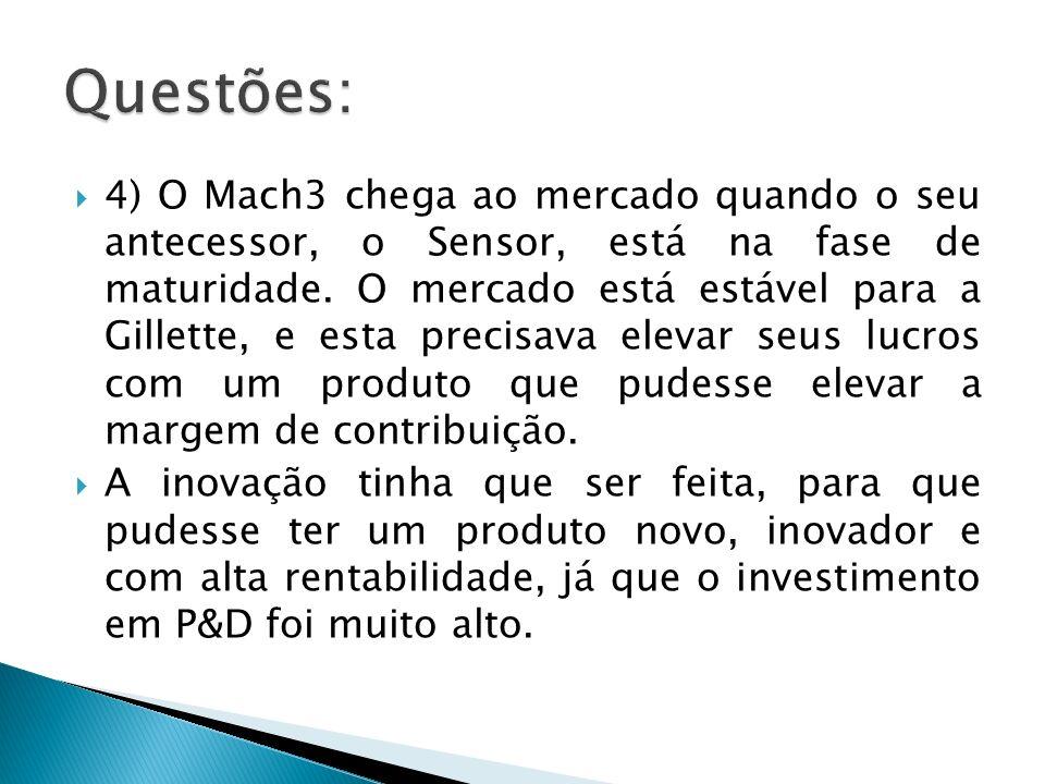 4) O Mach3 chega ao mercado quando o seu antecessor, o Sensor, está na fase de maturidade. O mercado está estável para a Gillette, e esta precisava el