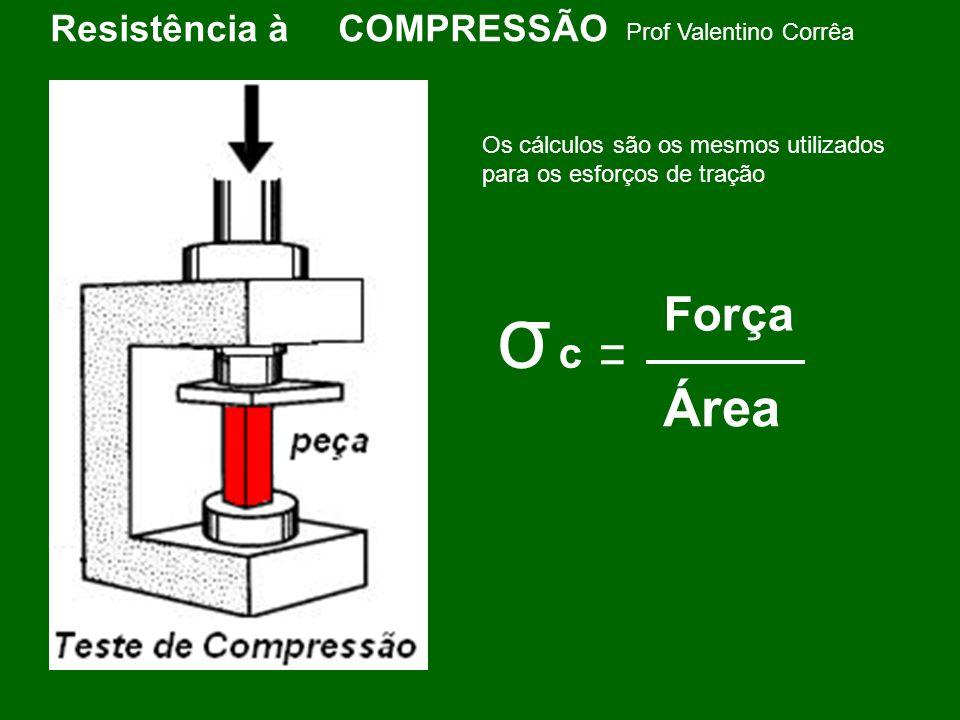 Prof Valentino Corrêa Resistência à COMPRESSÃO Alguns materiais resistem mais a compressão que a tração como é o caso do cimento e outros resistem menos a compressão do que a tração como é o caso do alumínio.