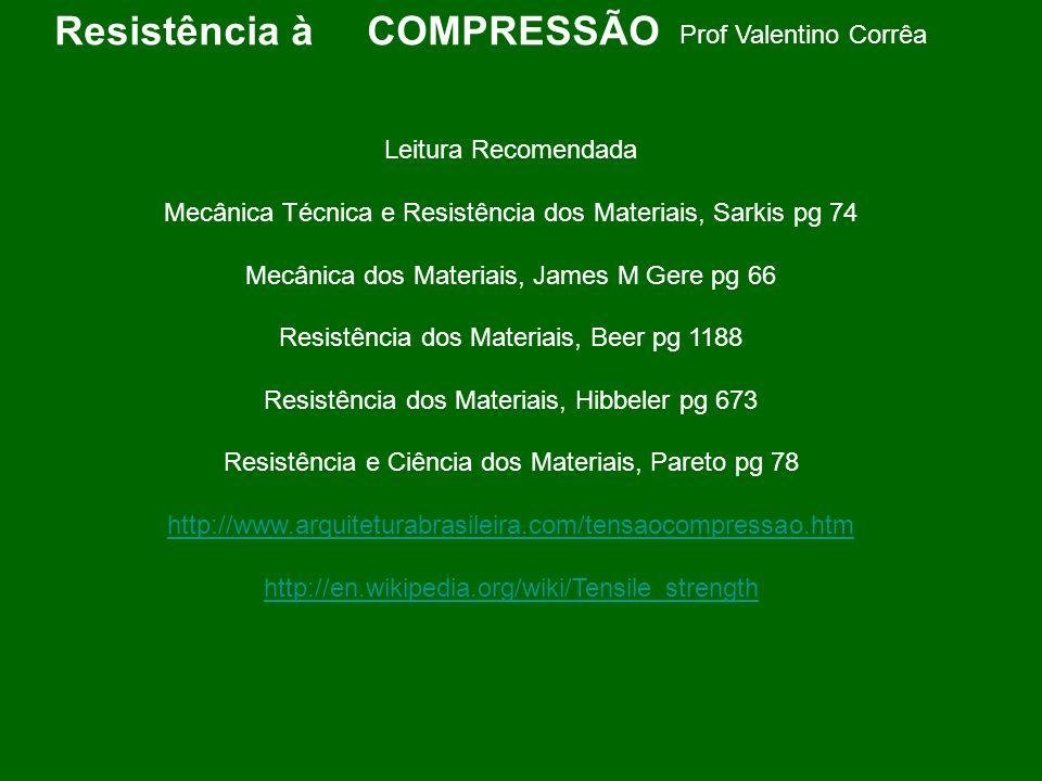 Prof Valentino Corrêa Leitura Recomendada Mecânica Técnica e Resistência dos Materiais, Sarkis pg 74 Mecânica dos Materiais, James M Gere pg 66 Resist